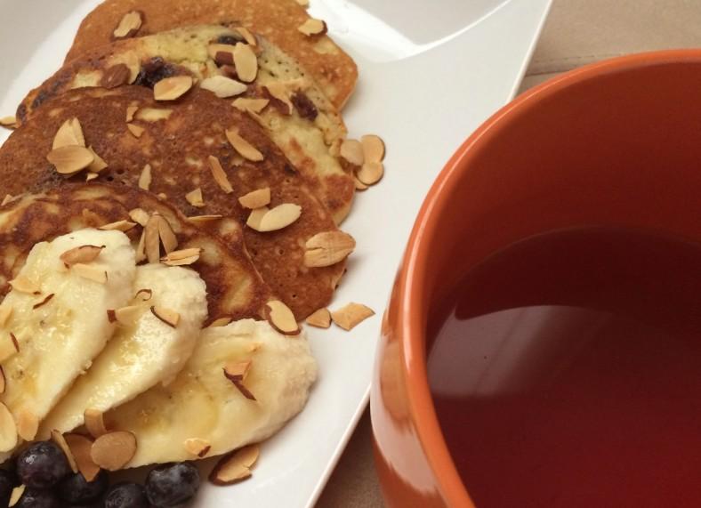 Gluten free homemade blubbery pancakes